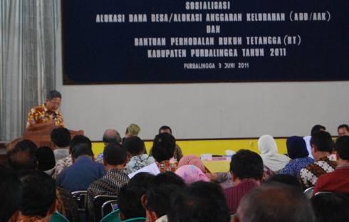 Sosialisasi ADD/AAK dan Bantuan Permodalan RT Kabupaten Purbalingga